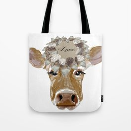 Cow with Love Hat Tote Bag