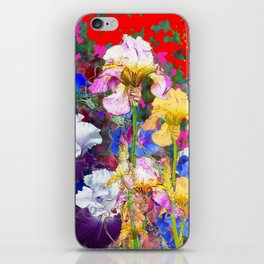 Decorative Spring  Garden Yellow & Pink Iris in Blue-Red iPhone Skin