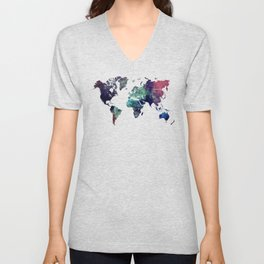 Map of the World After Ice Age Unisex V-Neck
