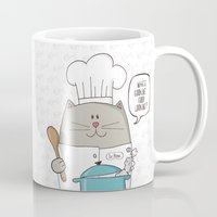 chef Mugs featuring Chef cat, chef hat, ZWD009S6 by ZeeWillDraw