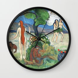 Paradise Lost by Paul Gauguin Wall Clock