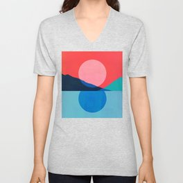 Abstraction_Mountains_SUNSET_Reflection Unisex V-Neck