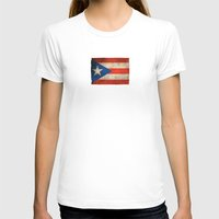 puerto rico T-shirts featuring Old and Worn Distressed Vintage Flag of Puerto Rico by Jeff Bartels