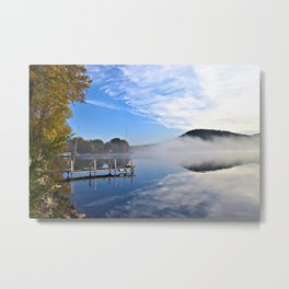 October Morning: Mergansers and Mist Metal Print