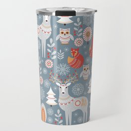 Fairy forest, deer, owls, foxes. Decorative pattern in Scandinavian style. Folk art. Travel Mug