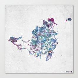 St Martin map Canvas Print