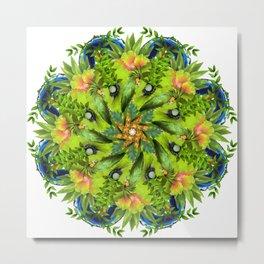 lime green parrots mandala Metal Print