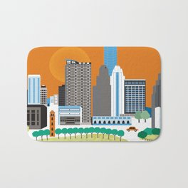 Austin, Texas - Skyline Illustration by Loose Petals Bath Mat