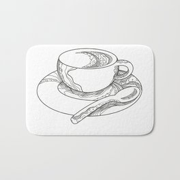 Cup of Coffee Doodle Bath Mat