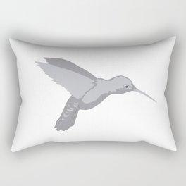 Grey Hummingbird Illustration 4 on White Rectangular Pillow