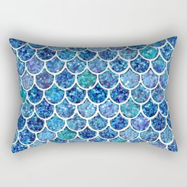 Sparkly Turquoise & Blue Glitter Mermaid Scales Rectangular Pillow