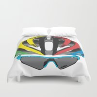 cycling Duvet Covers featuring Cycling Face by Pedlin