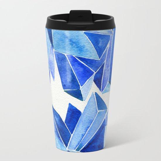 Sapphire Watercolor Facets Metal Travel Mug