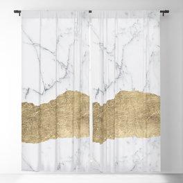Elegant faux gold foil gray white modern marble Blackout Curtain