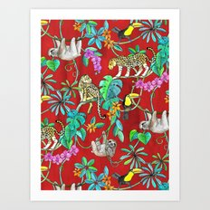 Rainforest Friends - watercolor animals on textured red Art Print