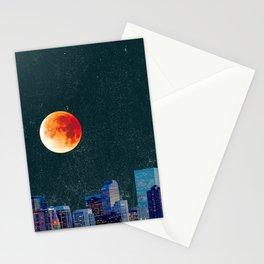 Blood Moon over Denver Colorado Skyline Stationery Cards