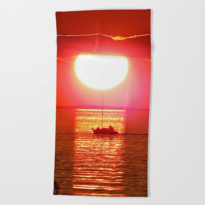 Sailboat Holds the Sun Beach Towel