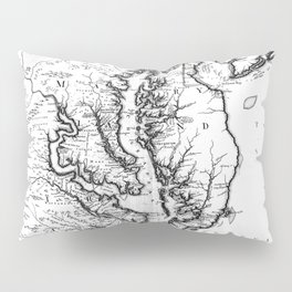 Vintage Map of The Chesapeake Bay (1719) BW Pillow Sham