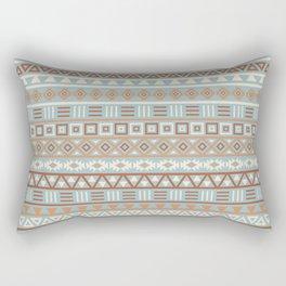 Aztec Influence Pattern Blue Cream Terracottas Rectangular Pillow