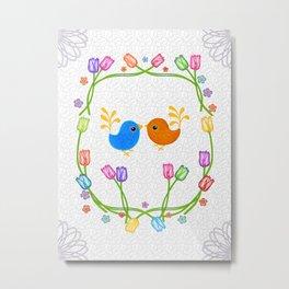 Birdies and Tulips Metal Print