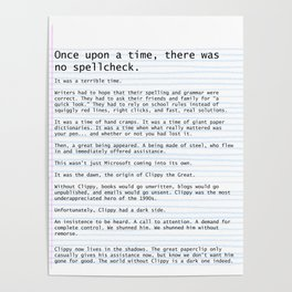Unique Gifts For Writers: An Homage to Clippy Poster