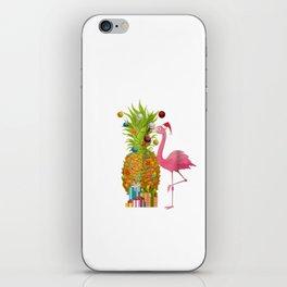 Mele Kalikimaka Flamingo Christmas Pineapple Hawai iPhone Skin