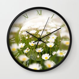 White herb camomiles clumps Wall Clock