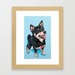 Happy Shiba Inu Puppy Painting, Black Shiba Artwork, Portrait of a Happy Shiba Inu Framed Art Print
