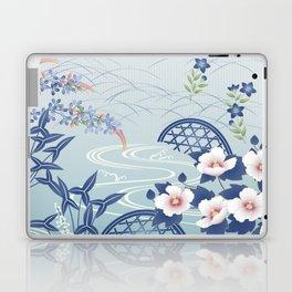 Elegant Light Blue Japanese Flower Garden Laptop & iPad Skin