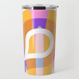 Nouveau Retro Graphic Pink Orange and White Travel Mug