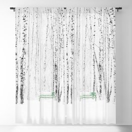 Green bench in white winter forest Blackout Curtain