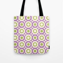 Mid Century Square and Circle Pattern 541 Lavender and Chartreuse Tote Bag