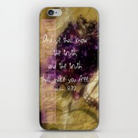 bible verse iPhone & iPod Skins featuring Truth - Verse by Anita Faye