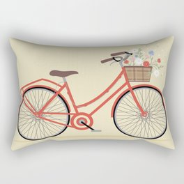 Flower Basket Bicycle Illustration Rectangular Pillow
