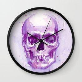 Pink Skull Watercolor Purple Abstract Wall Clock