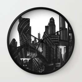 Longing in the City, charcoal on illustration board Wall Clock