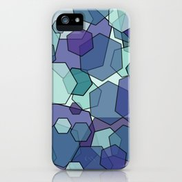 Converging Hexes - teal and purple iPhone Case