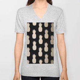 Gold Pineapples Pattern Black Unisex V-Neck