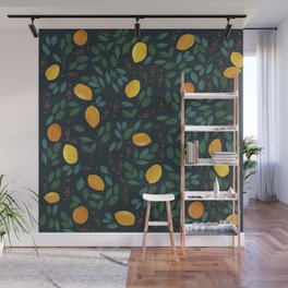 Yellow lemon watercolor vintage illustration pattern Wall Mural