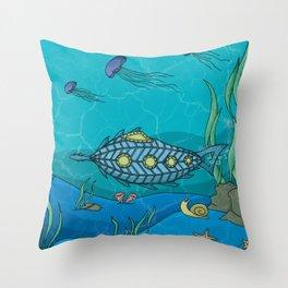 Nautilus under the sea Throw Pillow