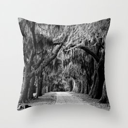 Moss in trees Throw Pillow