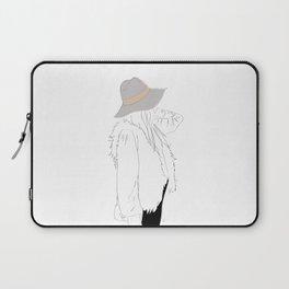 Gray Fall Fashion Hat Vest Girl 2 Laptop Sleeve