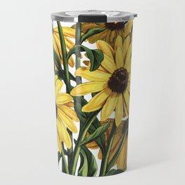 Black-Eyed Susan Yellow Flowers Painting Travel Mug