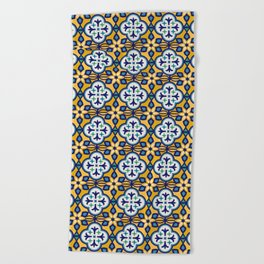 Yellow and Blue Moroccan Tile Beach Towel