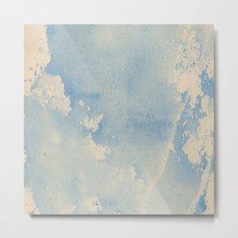 Vintage chic pastel blue ivory watercolor paint texture pattern Metal Print