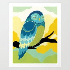 Blue Tree Owl Art Print