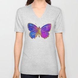 Elegant Gold-Glitter Butterfly in Blue and Purple Unisex V-Neck