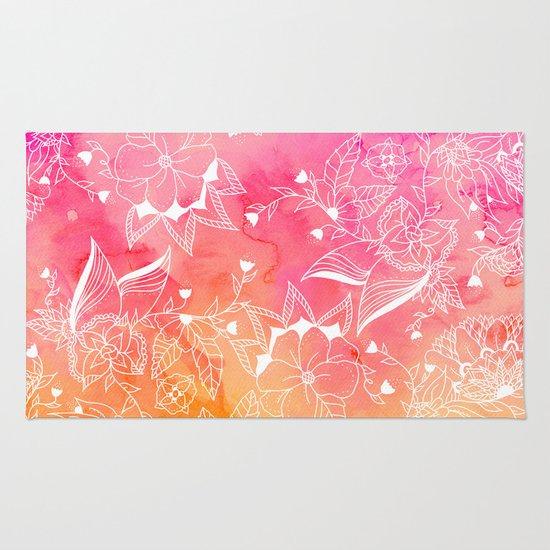 Modern Summer Pink Orange Sunset Watercolor Floral Hand