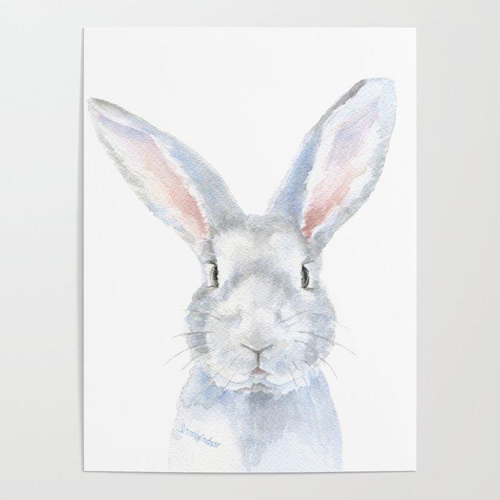 Gray Bunny Rabbit Watercolor Painting Poster