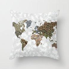 CAMO WORLD ATLAS MAP (white) Throw Pillow